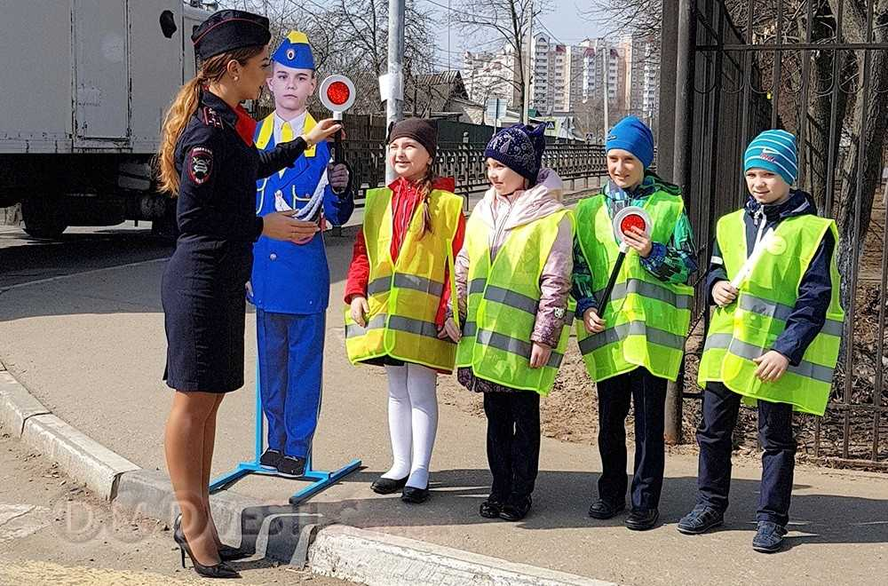 Команда ЮИД домодедовской школы № 4 помогает госавтоинспекторам округа