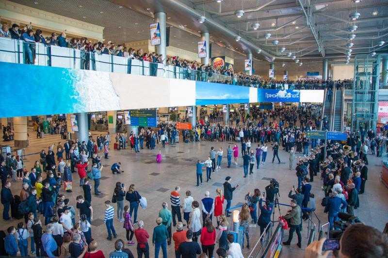 Аэропорт «Домодедово» стал главной площадкой подмосковного флешмоба в честь воссоединения Крыма с Россией