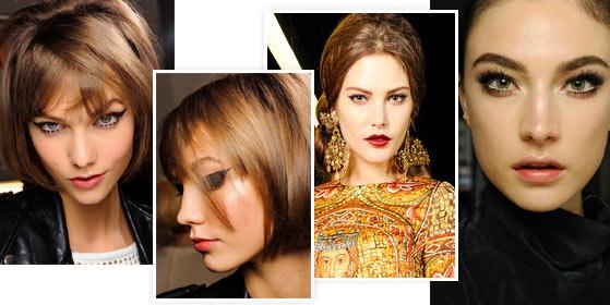 На фото модный макияж: Anna Sui, Dolce and Gabbana, Atelier Versace