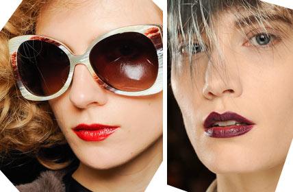 В моде также алые и темные винные оттенки для макияжа губ